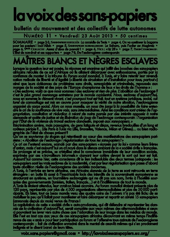la voix des sans-papiers N°11-1